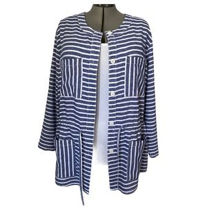Striped linen blend tunic jacket by Joe Fresh 1X